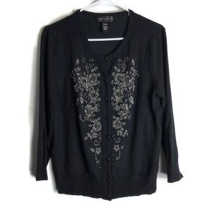 Cable & Gauge Black Embroidered Sweater Cardigan